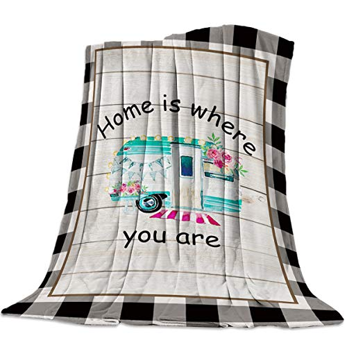 Flannel Fleece Bed Blanket Camper Pink Flower Vintage Wood Grain Black White Check Reversible Lightweight Soft Cozy College Dorm Throw for Sofa Chair for All Season, 59x79in