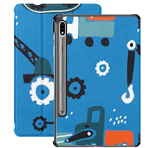 Funda para Galaxy Tab S7 Funda Delgada y Liviana con Soporte para Tableta Samsung Galaxy Tab S7 de 11 Pulgadas Sm-t870 Sm-t875 Sm-t878 2020 Versión, patrón Infantil sin Costuras Coches Dibujados a ma