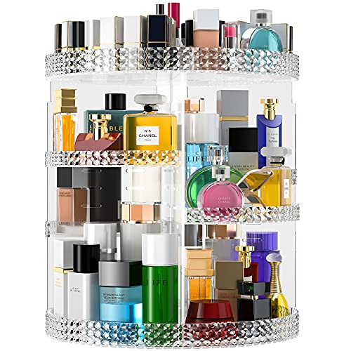 Famitree Rotating Makeup Organizer,Acrylic Clear Perfume Organizer,7 Adjustable Layers Large Capacity Cosmetic Carousel,Fits Different Cosmetics for Vanity and Bathroom - Plus Size(Clear)…