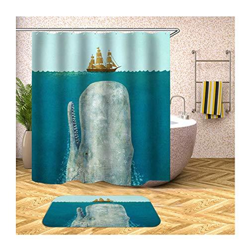 Bishilin Badematte 2 Set, Groß Wal & Schiff 3D Duschvorhang Anti-Schimmel 180x180 Badematte Waschbar 40x60