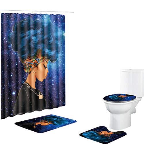 Skxinn 4 Stück rutschfeste Ständer Badematten Set, Afrikanische Frau Digital Drucken Creative Duschvorhang + Badteppich +Toilettenbezug +Badpad Räumung (F)