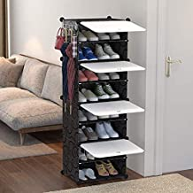Plastic Shoes Cabinet Rack Closet Storage Organizer Tower 8 Cube DIY Modular with White Door Dustproof for Bedroom Living ...