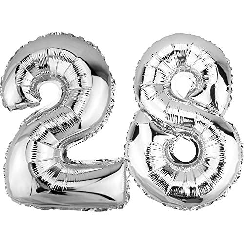 DekoRex Palloncino stagnola Compleanno Decorazione per l'aria 40cm lucidare Argento nomero: 28