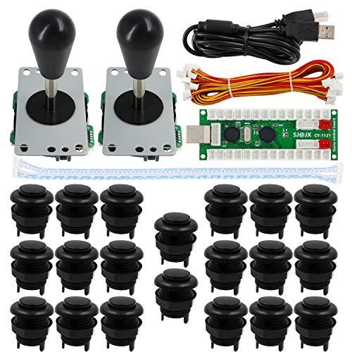SJJX Arcade Game 2 Player Controller DIY Kit Buttons Cherry MX Mechanical Keyboard Black Switch Matt Frosted 8 Way Fighting Joystick Zero Delay USB Encoder for PC MAME Raspberry Pi