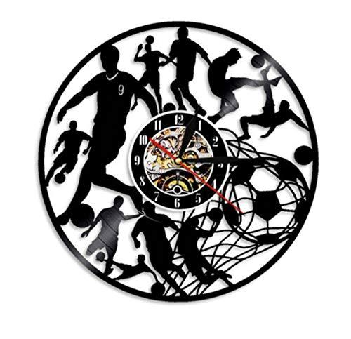 Reloj de Pared con Disco de Vinilo con diseño de Forma de fútbol, Reloj de Pared con decoración de Equipo de fútbol de diseño Moderno, Reloj de Pared para Regalo de Jugador