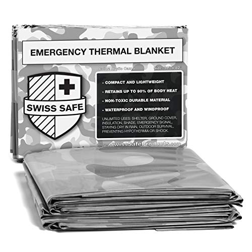 Emergency Mylar Thermal Blankets (4-Pack) + Bonus Signature Gold Foil Space Blanket: Designed for NASA, Outdoors, Hiking, Survival, Marathons or First Aid (Arctic Camouflage)