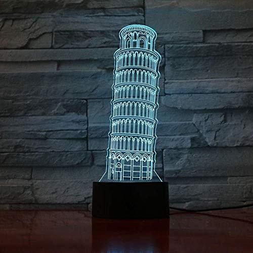 3D Lampe Der Schiefe Turm von Pisa Torre Pendente Geschenk für Kinder LED Nachtlicht Lampe Atmosphäre