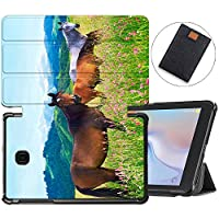 MAITTAO Case Fit Samsung Galaxy Tab A 8.0 2018 Model SM-T387 Verizon/Sprint/T-Mobile/AT&T, Slim Folio Cover Stand Case for Galaxy Tab A 8.0 Inch Tablet Sleeve Bag 2 in 1 Bundle, Akhal-Teke Horse 3