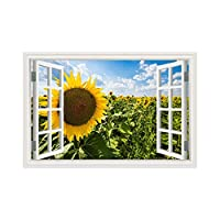 YIBOKANG 3D風景壁クリエイティブ効果ひまわり植物偽の窓絵画家のリビングルーム寝室環境ポリ塩化ビニールの装飾的な壁のステッカー (Color : 6)