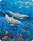 YISUMEI Bedruckte Kuscheldecke Blau Ozean Delfin Decke Flauschig Weich Fleecedecke 150x200 cm