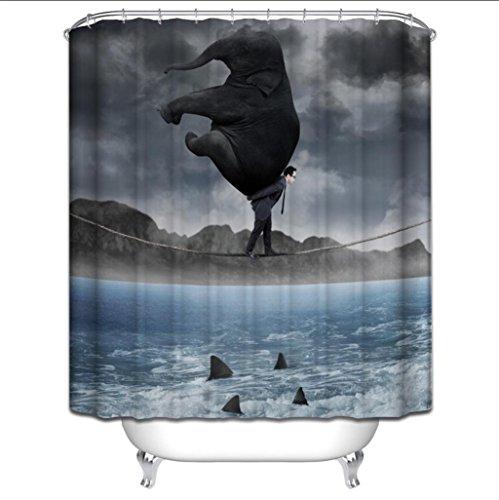 GYMNLJY Duschvorhang Polyester 3D Elephant Printing verdickte Mildewproof wasserdicht Badezimmer Nehmen Sie ein Bad Occlusion Vorhang , 1 , 150*180cm