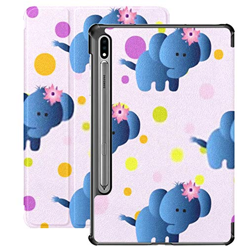 Funda Galaxy Tablet S7 Plus de 12,4 Pulgadas 2020 con Soporte para bolígrafo S, patrón sin Costuras Dibujos Animados Lindo Juguete bebé Funda Protectora con Soporte Delgado para Samsung
