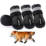 EARTH FRIENDLY 4 Pcs Dog Boots Anti-Slip Breathable Dog Shoes with Adjustable Reflective Straps Rugged Waterproof Dog Snow Shoes Paw Protectors for Small to Large Dogs Outdoor