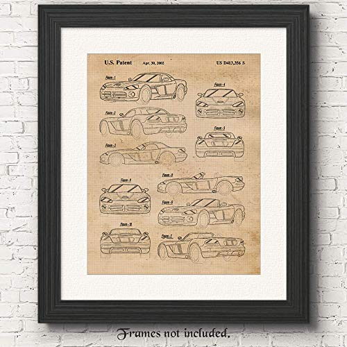 Vintage Dodge Viper RT Patent Poster Prints, Set of 1 (11x14) Unframed Photo, Wall Art Decor Gifts Under 15 for Home, Office, Man Cave, Garage, College Student, Teacher, American Car & Coffee Fan