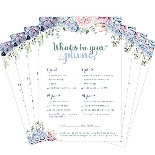 30 Pack Bridal Shower Games- What's in Your Phone Bridal Shower Game Cards. Succulent Design Matches Any Floral Bridal Shower