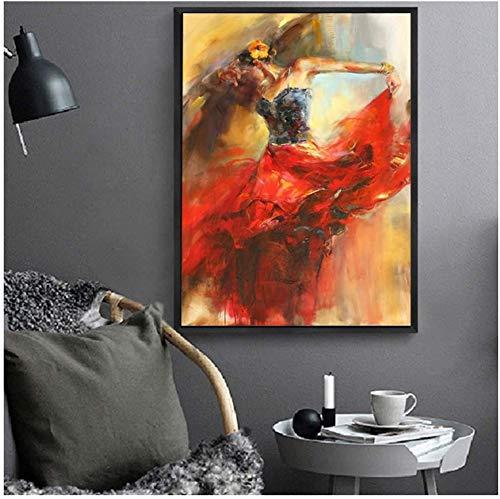 Surfilter Print auf Leinwand Abstract Dancing Ballerina Girl Ölgemälde Poster und Drucke Wandkunst Bild für Wohnzimmer Dekorative 19.6& rdquo; x 27.5& rdquo; (50x70cm) No Frame