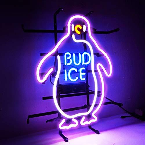 Bud ICE Beer Bar Club - Cartel de luz de neón para bar, billar, casa, hotel, playa, cóctel, sala de recreación, luz de neón, 14,2 x 17,7 pulgadas