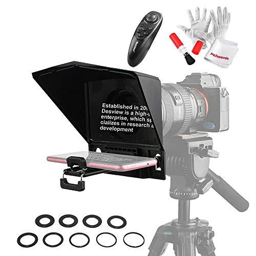 Desview T2 Teleprompter con kit anello adattatore per obiettivo e telecomando per smartphone tablet fotocamera DSLR, per YouTube interviste trasmissione dal vivo registrazione video