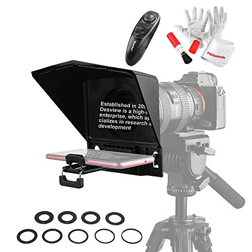 Desview T2 Portable Teleprompter for Smartphone Tablet DSLR Cameras, Supports Wide Angle Lens, APP Compatible with iPad/Android, Comes with Remote Controller, Lens Adapter Rings and Cleaning Kit
