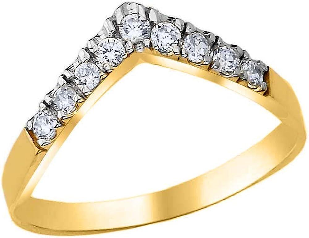 High Polish 10k Gold CZ-Studded Chevron Ring for Women (Sizes 4-12)