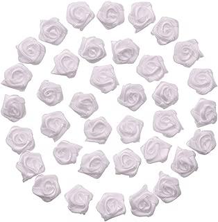 60pcs Satin Ribbon Flower Rose/trim/sewing (White)