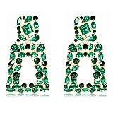 Rhinestone Rectangle Dangle Earrings for Women Crystal Drop Statement Earrings KELMALL COLLECTION
