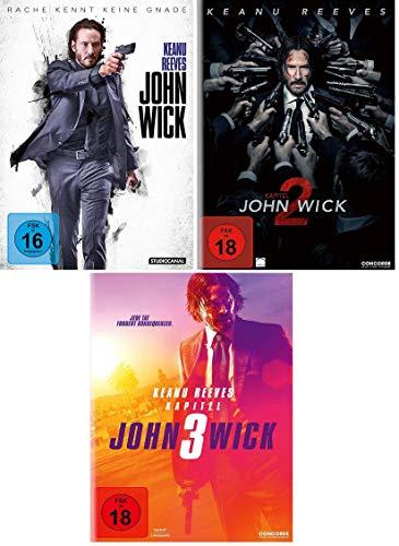 John Wick 1 + Kapitel 2 + Kapitel 3 im Set - Deutsche Originalware [3 DVDs]