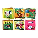 Kstyhome Lot de 6 livres en tissu doux pour bébé Livres froissés non toxiques Friction avec bruit de bruissement Nourrissons et tout-petits Apprentissage précoce Jouet éducatif Cadeau