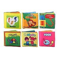 6パックソフトベビークロスブック無毒クリンクルブックガラガラ音の幼児と幼児の摩擦子供男の子女の子ユニセックスのための早期学習教育玩具ギフト