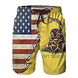 Jiekouren Gadsden Flag Men's Beach Pants 3D Printed Fashion Polyester Adjustable Beach Board Shorts 30