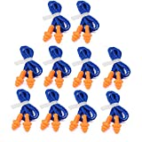 Tvoip 10 Pairs of Soft Silicone Corded Ear Plugs Reusable Hearing Protection Earplugs