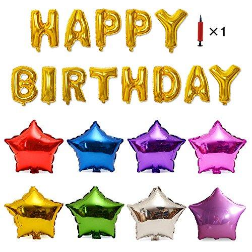 誕生日パーティ HAPPY BIRTHDAY ガーランド&アルミバルーン&空気入れセット