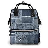 Bolsa de pañales de tela vaquera azul con patrón de patchwork, multifunción, impermeable, mochila de viaje para el cuidado del bebé, gran capacidad, elegante y duradera