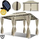 Kesser® - Pavillon 3x4m LED inkl. Seitenwände mit Reißverschlüsse, mit LED Beleuchtung +...