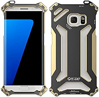 NEW R-just Armor King Stainless Steel Mobile Phone Cover Metal Case for Samsung Galaxy S7 Edge/G9350 Aviation Aluminum Cases - Golden