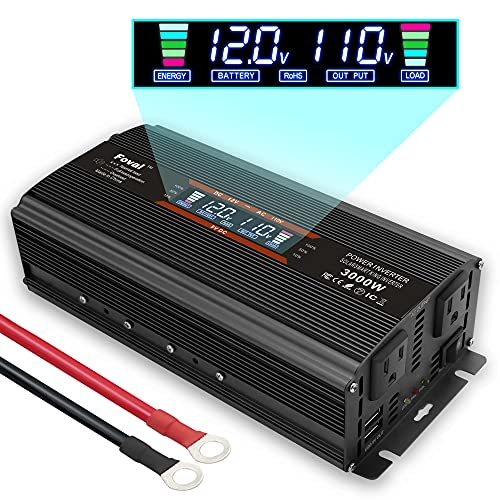 Cantonape 1500W/3000W(Surge) Car Power Inverter 12V to 110V AC with LCD Display Dual AC Outlets and Dual 3.1A USB Car Adapter, Replaceable Fuses for Car Home Truck (1500W-Black-NEW)
