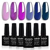 Allenbelle Smalto Semipermanente Smalti Semipermanenti Per Unghie Nail Polish UV LED Gel Unghie(Kit di 6 pcs 7.3ML/pc) 005