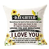 Sunflower Daughter Always My Baby Girl Use Last Breath Say Love You Quote Gift Daughter Outdoor Cotton Linen Square Throw Pillow Case Decorative Cushion Cover Pillowcase for Bed Coach Sofa 18'x 18'