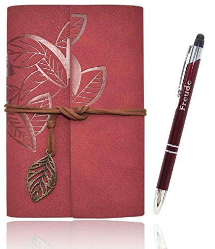Lined Writing Journals Notebook (Value Pack) Refillable Leather Women's Notebook Journals, A6(7×5inch) Travel Diary, Best Gift for Teens Girls and Boys (Wine red,Lined Journals)