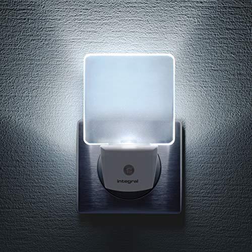 Integral Veilleuses Pack de 3 Luces LED, enchufables con Sensor, iluminación Nocturna con Detector de Movimiento para pasillos, 0.6 W, White, Pack of 3