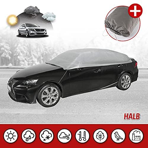 Walser 31089 Autoabdeckung AllWeather Halbgarage Größe L hellgrau, wasserdichte Halbgarage, Staubdicht mit UV Schutz, verstärkte Gurtbefestigung