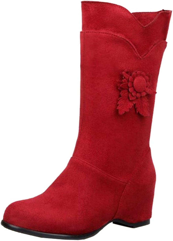 SJJH Women Mid-Calf Wedge Boots