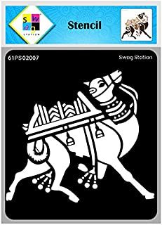 """SWAGSTATION Indian Camel Animal Reusable Template Stencils for Art and Craft (6""""x6"""") Mixed Media, Animal Stencils for Wall..."""