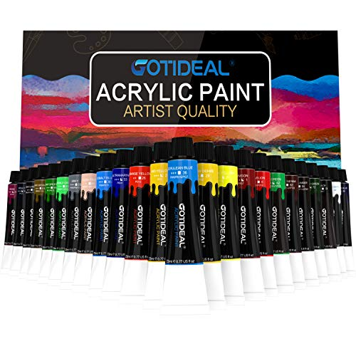 GOTIDEAL Acrylic Paint Set, 24 Colors/Tubes(23ml, 0.77 oz) Non Toxic Non Fading,Rich Pigments for Artist, Hobby Painters, Adults & Kids, Ideal for Canvas Wood Clay Fabric Ceramic Craft Supplies