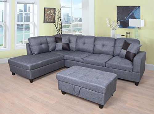 Beverly Fine Furniture Sectional Sofa Set, Gray