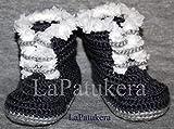 Patucos para bebé de crochet, Unisex. Estilo PIRINEO, de color azul tejano,...