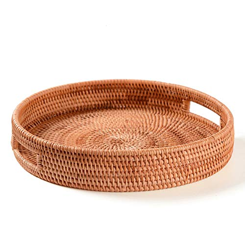 zyy Rattan Tray, Hand-Woven, Round, High Wall, Round Basket with Handle, Food Storage, Plate Over Handles, for Breakfast, Drinks, Snack for Coffee Table 1 Piece,30cm
