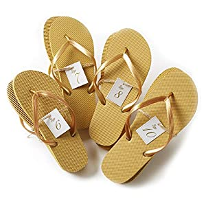 Bulk Flip Flops for Wedding Guest | 52 Pack Gold Wholesale Flip Flop Sandals | Twine Wrapped Individually with Decorative Size Cards and Wedding Reception Sign Included…