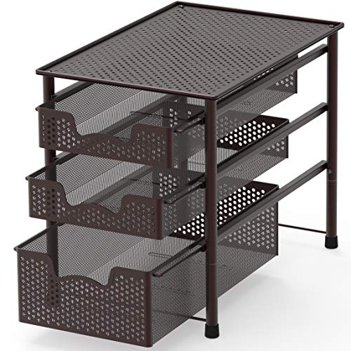 Simple Houseware Stackable 3 Tier Sliding Basket Organizer Drawer Bronze