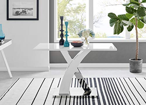 Atlanta 4 Rectangle White High Gloss Chrome Metal Modern Stylish 4 Seater Dining Table And 4 Luxury Faux Leather Lorenzo Dining Chairs Set (Dining Table Only)